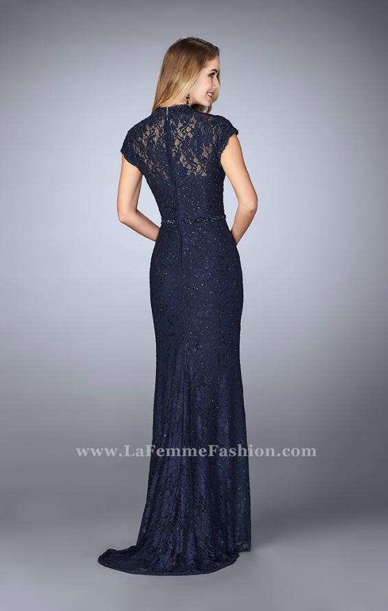 Picture of: Stretch Lace Gown with Sheer Lace Detailing in Blue, Style: 23148, Back Picture