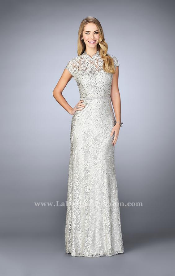 Picture of: Stretch Lace Gown with Sheer Lace Detailing in Silver, Style: 23148, Detail Picture 1