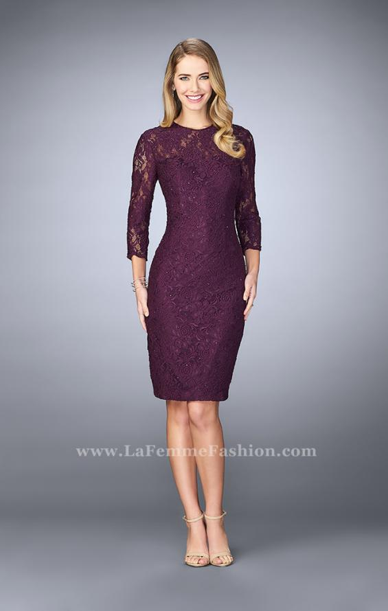 Picture of: Knee Length Lace Dress with 3/4 Sleeves, Style: 23149, Detail Picture 1