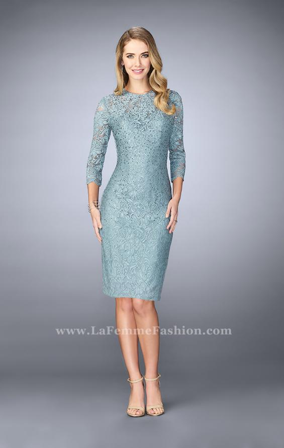 Picture of: Knee Length Lace Dress with 3/4 Sleeves, Style: 23149, Detail Picture 2