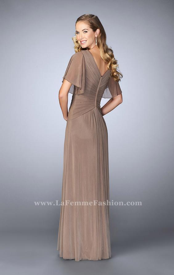 Picture of: V Neck Chiffon Prom Dress with Vintage Beading in Brown, Style: 23160, Back Picture