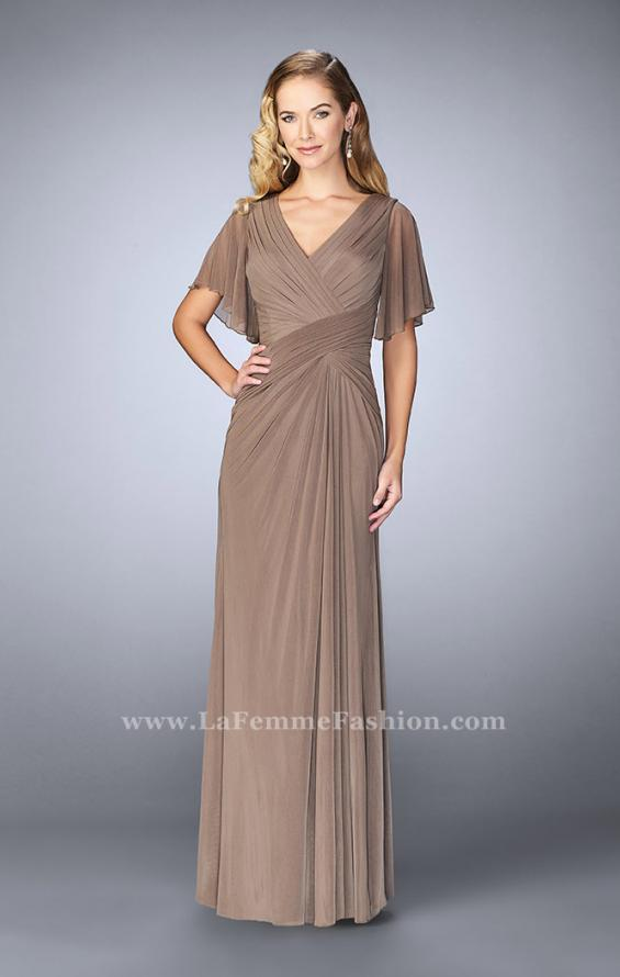 Picture of: V Neck Chiffon Prom Dress with Vintage Beading in Brown, Style: 23160, Detail Picture 1