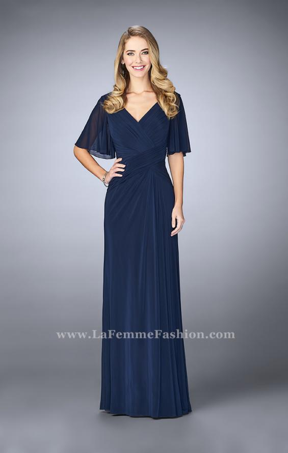Picture of: V Neck Chiffon Prom Dress with Vintage Beading in Blue, Style: 23160, Detail Picture 2