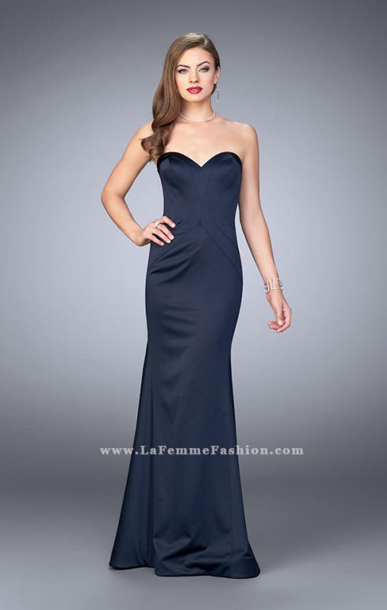 Picture of: Satin Mermaid Dress with Figure Flattering Seams in Blue, Style: 23197, Main Picture