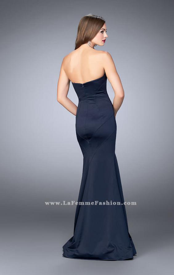 Picture of: Satin Mermaid Dress with Figure Flattering Seams in Blue, Style: 23197, Back Picture