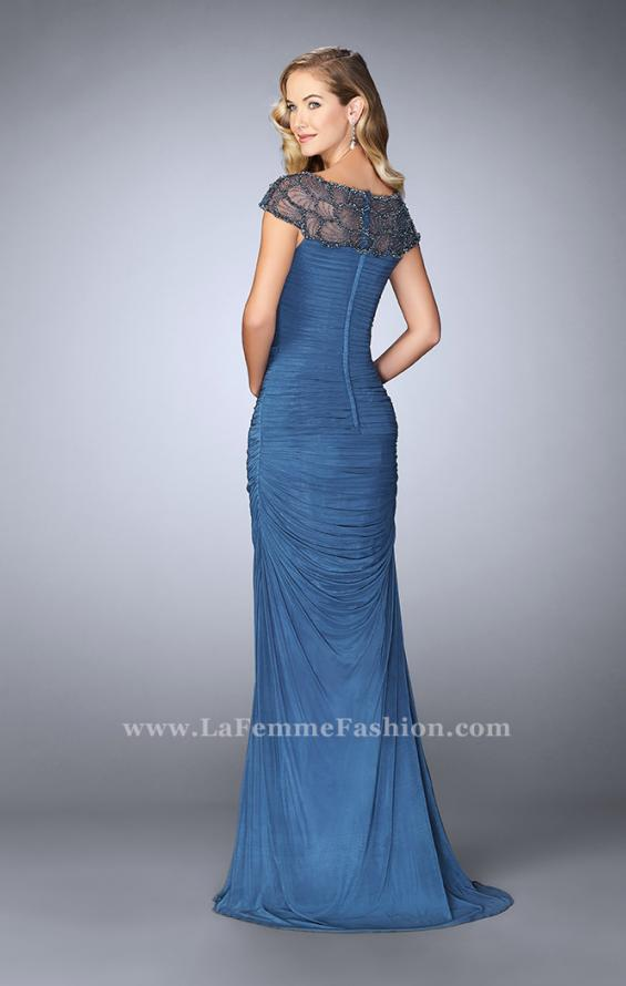 Picture of: Net Jersey Dress with Beading and Sheer Neckline in Blue, Style: 23215, Back Picture