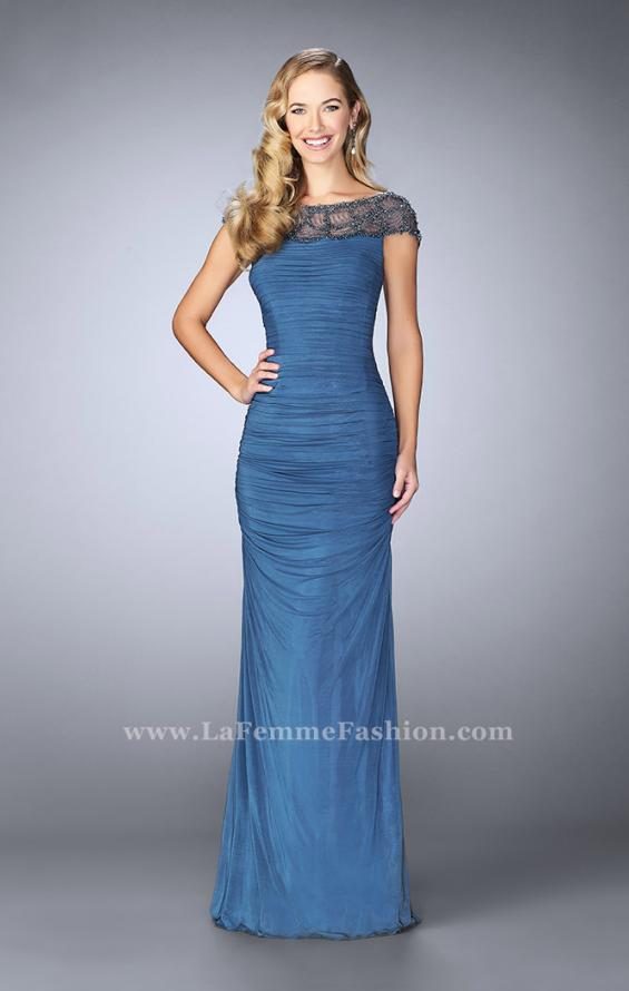 Picture of: Net Jersey Dress with Beading and Sheer Neckline in Blue, Style: 23215, Detail Picture 1