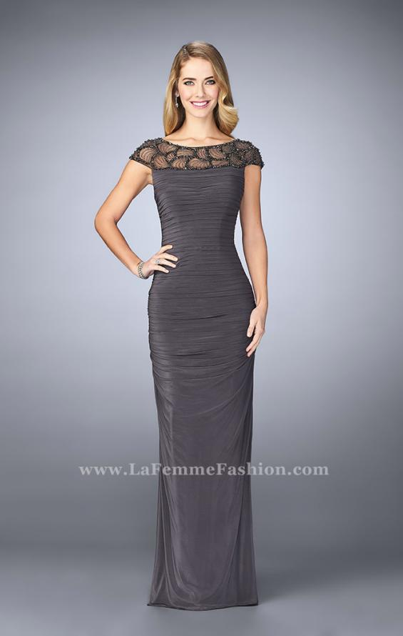 Picture of: Net Jersey Dress with Beading and Sheer Neckline in Silver, Style: 23215, Detail Picture 2