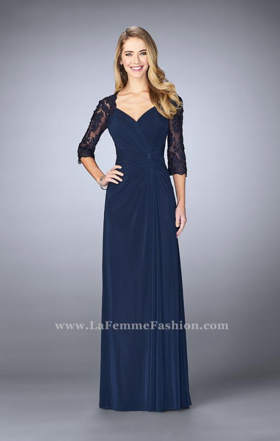 Picture of: Jersey Gown with Knot Detail and Lace Sleeves in Blue, Style: 23244, Main Picture