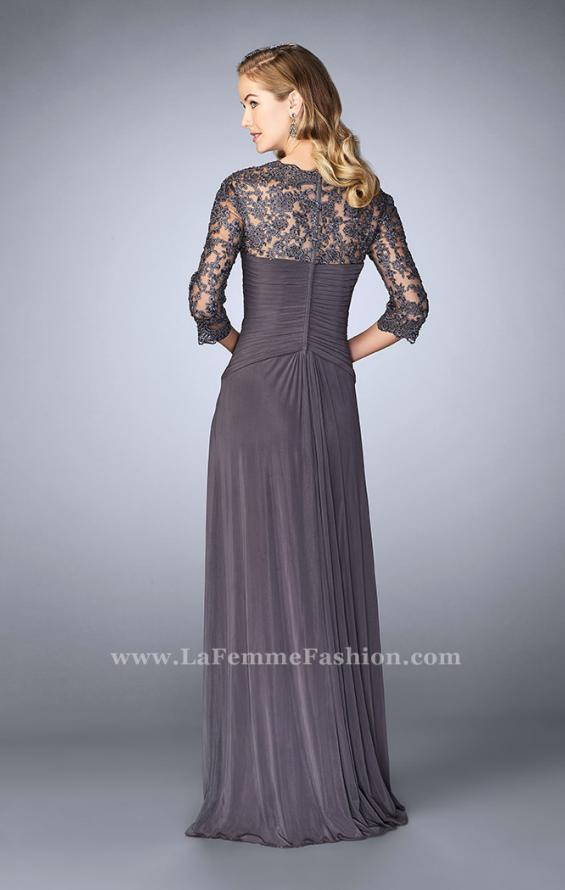 Picture of: Jersey Gown with Knot Detail and Lace Sleeves in Silver, Style: 23244, Back Picture