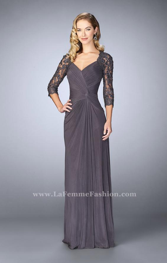 Picture of: Jersey Gown with Knot Detail and Lace Sleeves in Silver, Style: 23244, Detail Picture 1