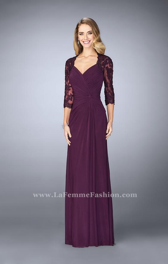 Picture of: Jersey Gown with Knot Detail and Lace Sleeves in Purple, Style: 23244, Detail Picture 2