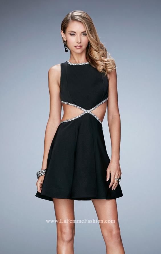 Picture of: Rhinestone Cocktail Dress with Side Cut Outs in Black, Style: 23257, Main Picture