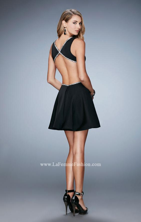 Picture of: Rhinestone Cocktail Dress with Side Cut Outs in Black, Style: 23257, Back Picture