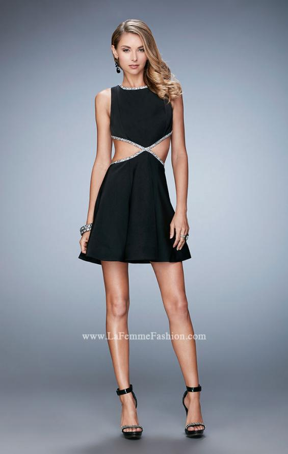 Picture of: Rhinestone Cocktail Dress with Side Cut Outs in Black, Style: 23257, Detail Picture 1