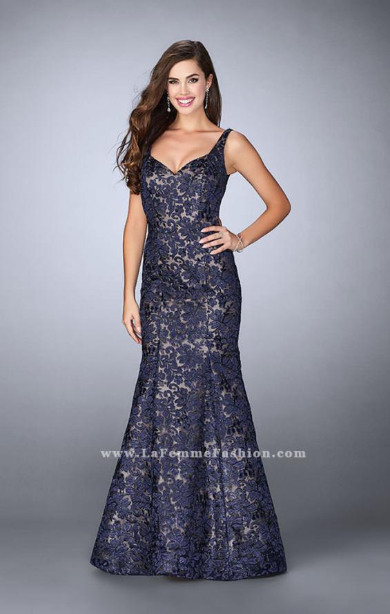 Picture of: Mermaid Lace Dress with Sweetheart Neck and Open Back in Blue, Style: 23258, Main Picture