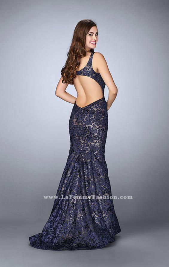 Picture of: Mermaid Lace Dress with Sweetheart Neck and Open Back in Blue, Style: 23258, Back Picture