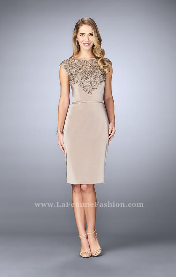 Picture of: Knee Length Gown with Beaded Embroidery in Nude, Style: 23266, Main Picture
