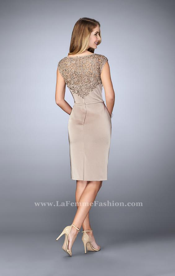 Picture of: Knee Length Gown with Beaded Embroidery in Nude, Style: 23266, Back Picture