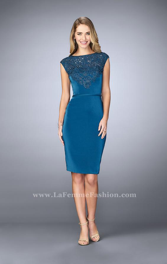Picture of: Knee Length Gown with Beaded Embroidery in Blue, Style: 23266, Detail Picture 1