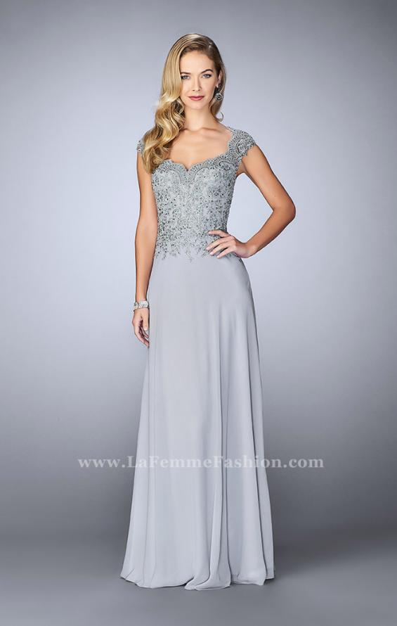 Picture of: Cap Sleeve Beaded Lace Evening Gown, Style: 23286, Main Picture