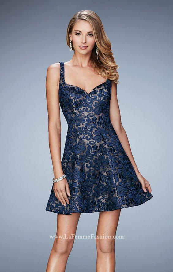 Picture of: Short Lace Dress with Flared Skirt and Open Back, Style: 23301, Main Picture