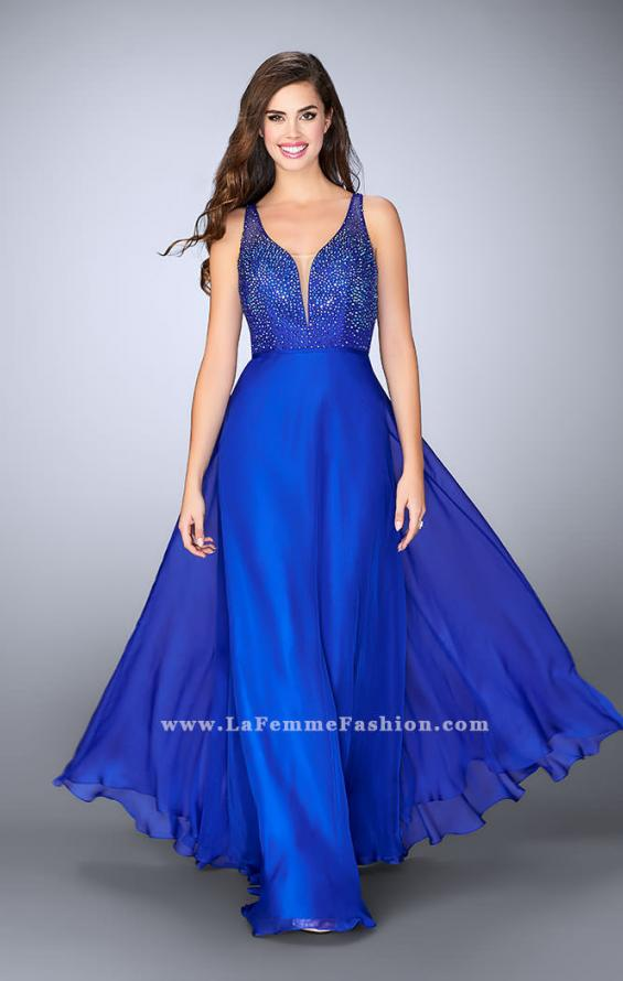 Picture of: Chiffon A-line Dress with Beading and Deep V neckline, Style: 23304, Main Picture