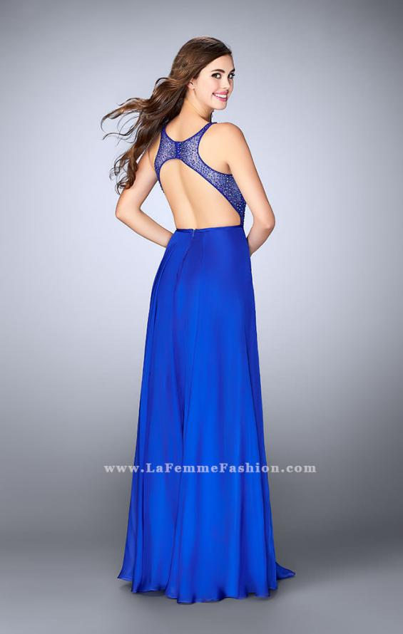 Picture of: Chiffon A-line Dress with Beading and Deep V neckline, Style: 23304, Back Picture