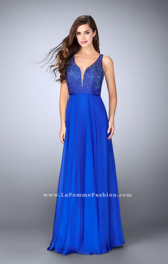 Picture of: Chiffon A-line Dress with Beading and Deep V neckline, Style: 23304, Detail Picture 1