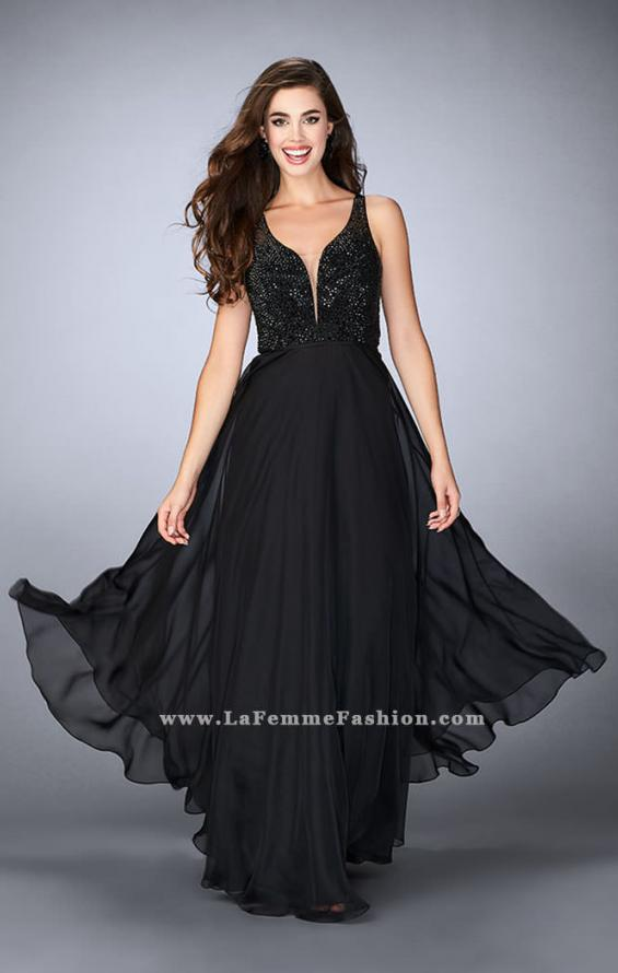 Picture of: Chiffon A-line Dress with Beading and Deep V neckline, Style: 23304, Detail Picture 2