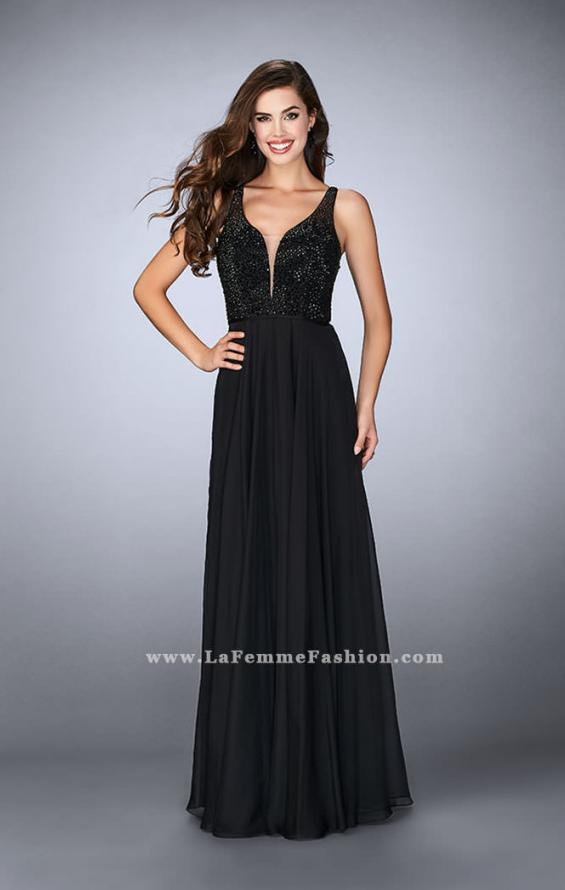 Picture of: Chiffon A-line Dress with Beading and Deep V neckline, Style: 23304, Detail Picture 3