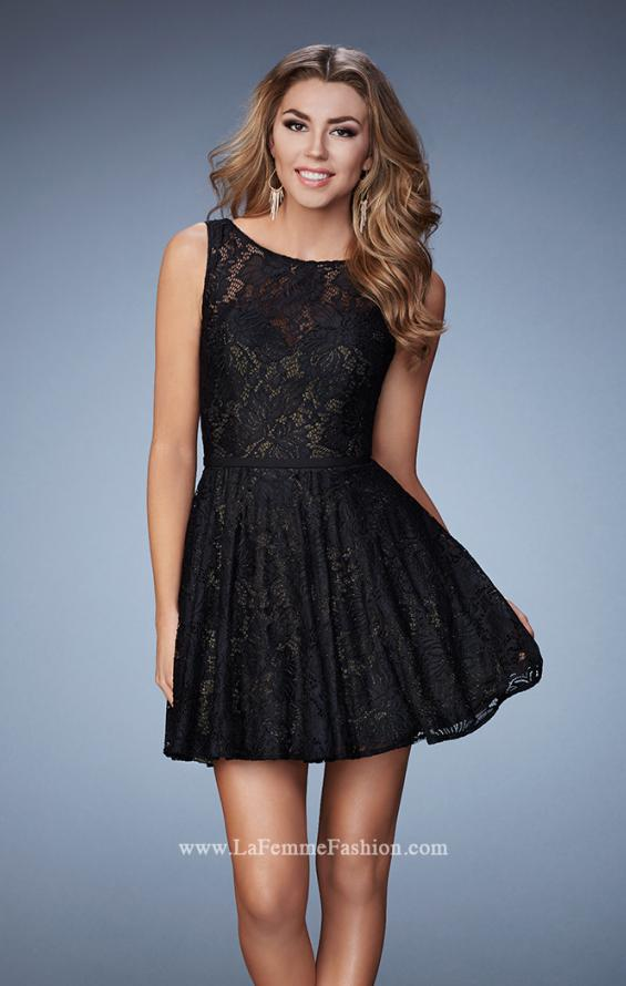 Picture of: Lace Homecoming Dress with High Neck and Full Skirt in Black, Style: 23315, Main Picture