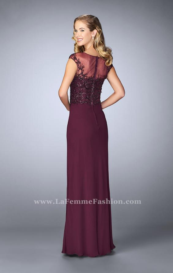 Picture of: Sheer Cap Sleeve Crepe Jersey Gown, Style: 23316, Back Picture