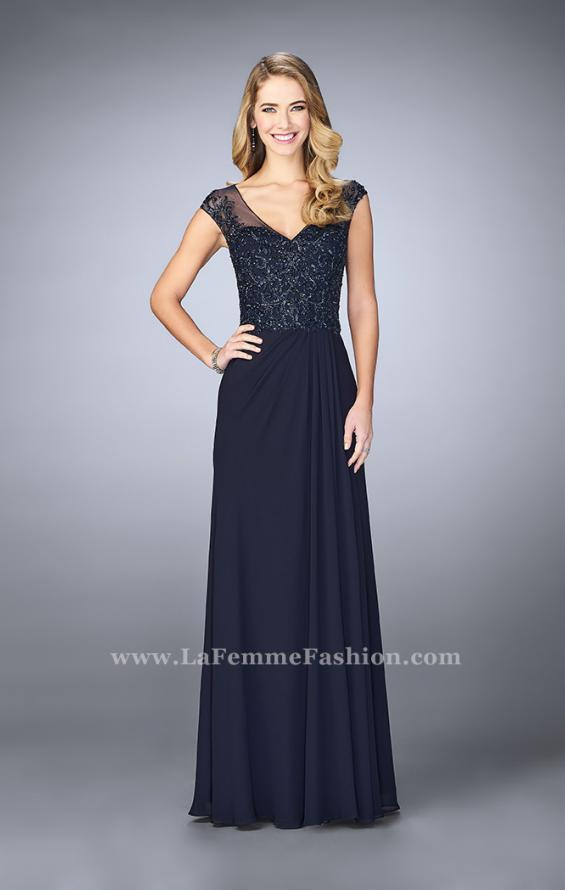 Picture of: Sheer Cap Sleeve Crepe Jersey Gown, Style: 23316, Detail Picture 2