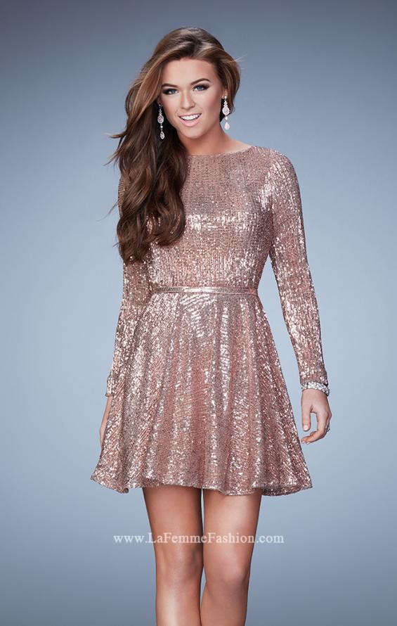 Picture of: Long Sleeve Short Sequin Homecoming Dress, Style: 23321, Main Picture