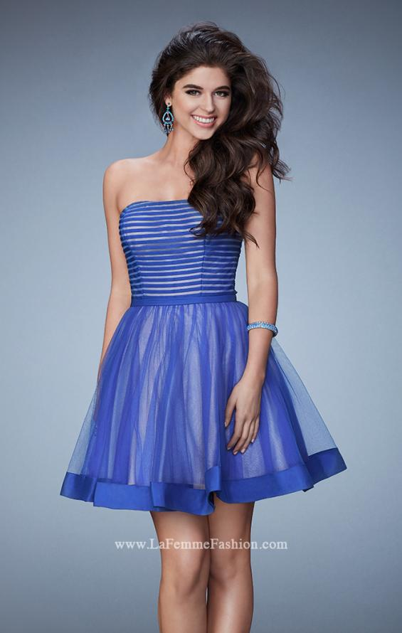 Picture of: Short Party Dress with Tulle Skirt and Satin Trim in Blue, Style: 23354, Main Picture