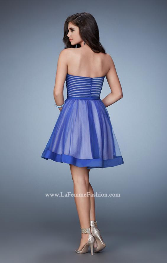 Picture of: Short Party Dress with Tulle Skirt and Satin Trim in Blue, Style: 23354, Back Picture