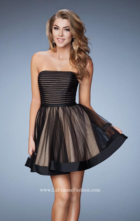 Picture of: Short Party Dress with Tulle Skirt and Satin Trim in Black, Style: 23354, Detail Picture 1
