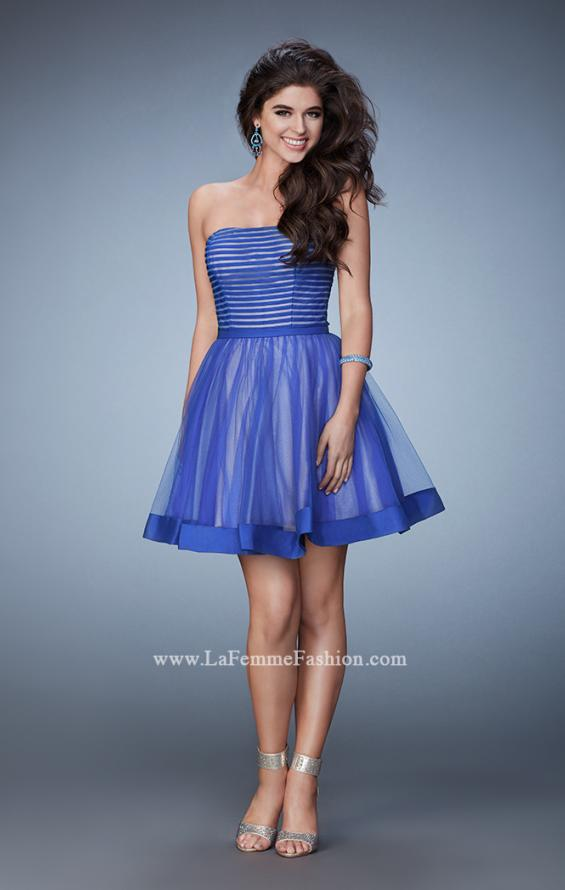 Picture of: Short Party Dress with Tulle Skirt and Satin Trim in Blue, Style: 23354, Detail Picture 2