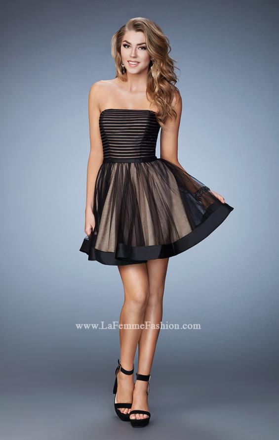 Picture of: Short Party Dress with Tulle Skirt and Satin Trim in Black, Style: 23354, Detail Picture 3