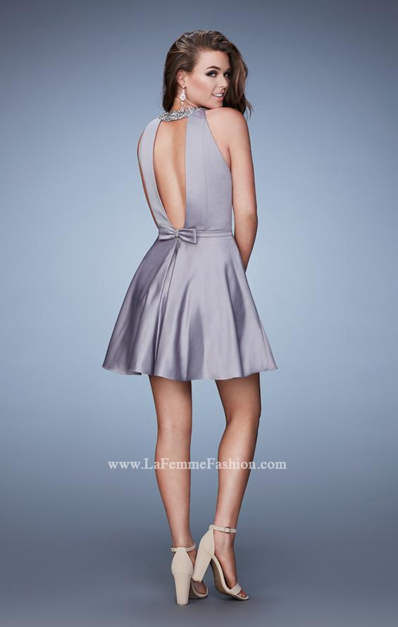 Picture of: Short Jersey Dress with Keyhole and Rhinestones, Style: 23365, Back Picture