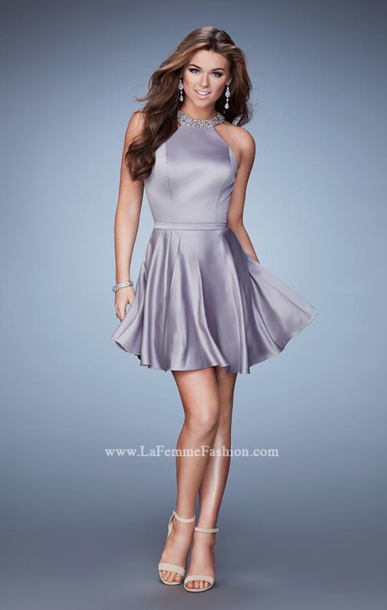 Picture of: Short Jersey Dress with Keyhole and Rhinestones, Style: 23365, Detail Picture 1