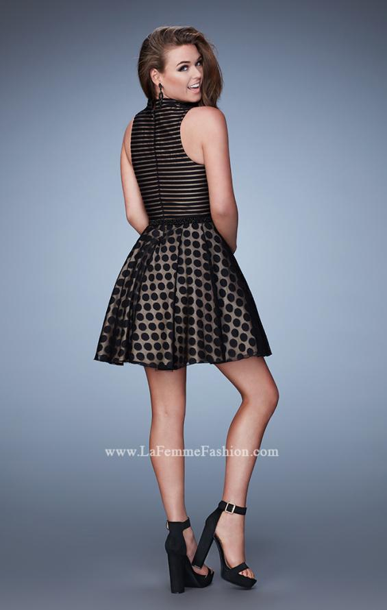 Picture of: Polka Dot Homecoming Dress with Striped Bodice in Black, Style: 23383, Back Picture