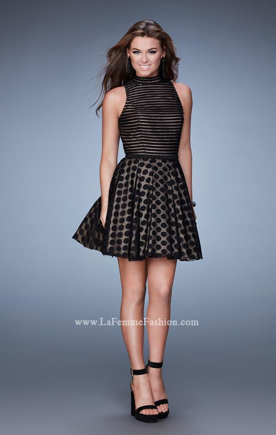 Picture of: Polka Dot Homecoming Dress with Striped Bodice in Black, Style: 23383, Detail Picture 1
