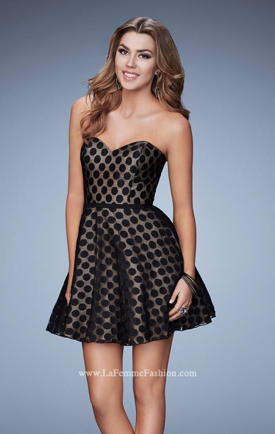 Picture of: Short Polka Dot Dress with A-line Skirt in Black, Style: 23392, Main Picture