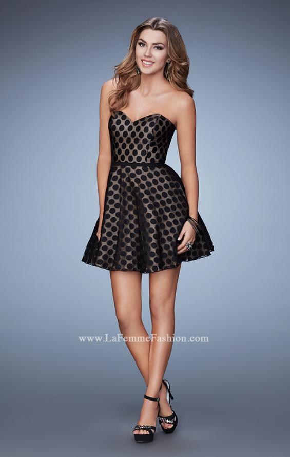 Picture of: Short Polka Dot Dress with A-line Skirt in Black, Style: 23392, Detail Picture 1