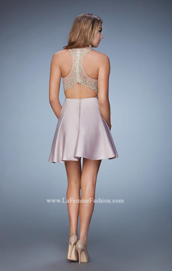 Picture of: Short A-line Dress with Beads, Lace, and Pockets in Nude, Style: 23393, Back Picture