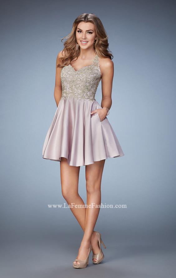 Picture of: Short A-line Dress with Beads, Lace, and Pockets in Nude, Style: 23393, Detail Picture 1