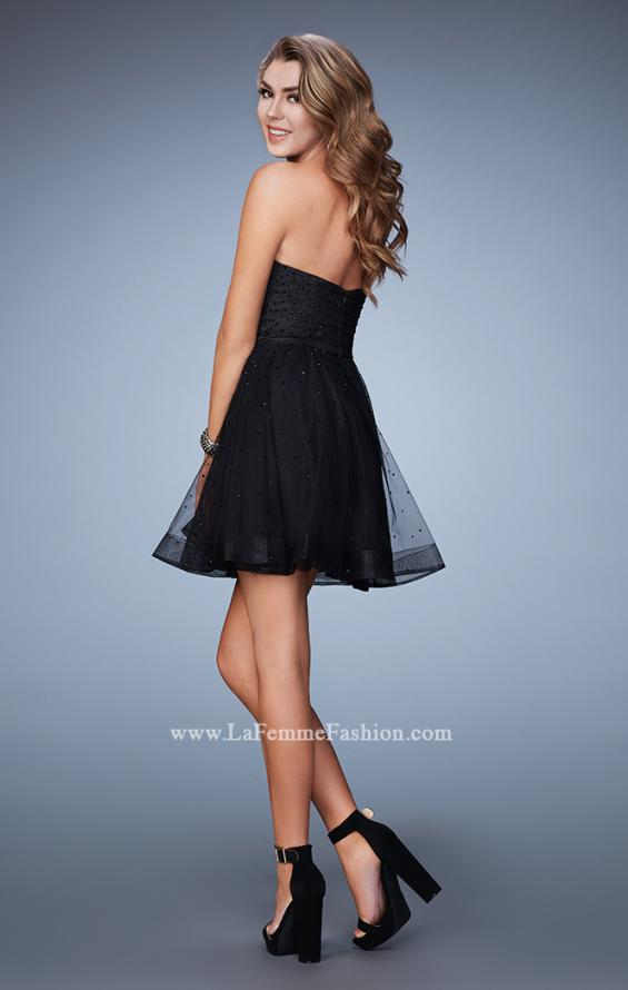 Picture of: Short Homecoming Dress with Cut Outs and Stones in Black, Style: 23402, Back Picture