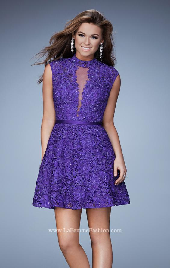 Picture of: Short Lace Dress with high Neckline and Open Back in Purple, Style: 23409, Main Picture